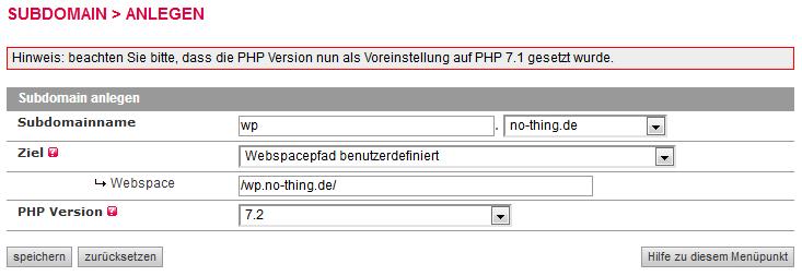 Wordpress Website erstellen Schritt 2
